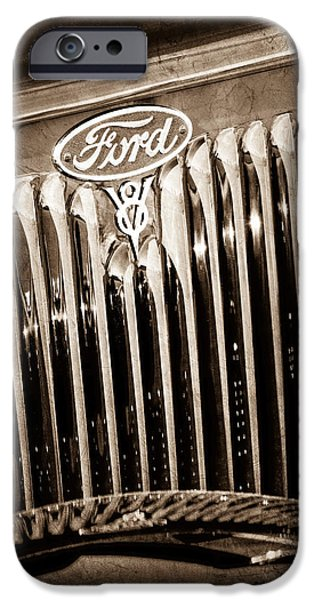 Ford V8 iPhone Cases - 1934 Ford V8 Emblem iPhone Case by Jill Reger