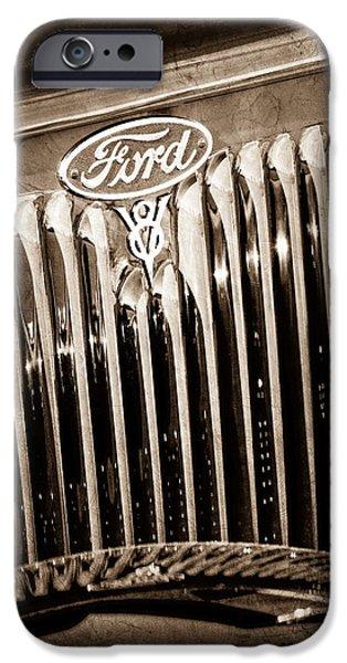 Ford V8 iPhone Cases - 1934 Ford V8 Emblem iPhone Case by Jill Reger