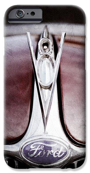 Ford V8 iPhone Cases - 1936 Ford Phaeton V8 Hood Ornament - Emblem iPhone Case by Jill Reger