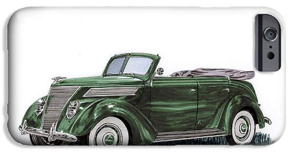 Following iPhone Cases - 1937 Ford 4 door convertible iPhone Case by Jack Pumphrey