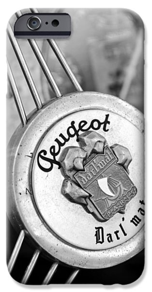 1937 Peugeot 402 Darl'mat Legere Special Sport Roadster Recreation Steering Wheel Emblem iPhone Case by Jill Reger