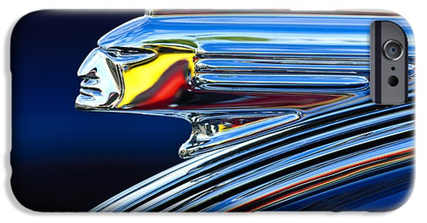 Vintage Cars iPhone Cases - 1939 Pontiac Silver Streak Chief Hood Ornament iPhone Case by Jill Reger