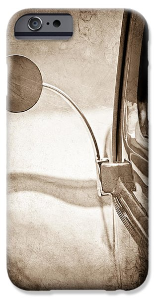 Rear View iPhone Cases - 1940 Ford Deluxe Coupe Rear View Mirror iPhone Case by Jill Reger