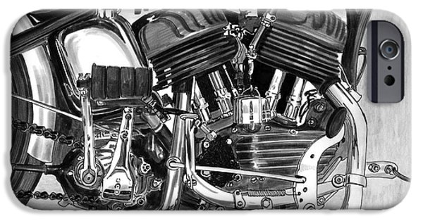 Close Up Drawings iPhone Cases - 1948 Harley Davidson W L A iPhone Case by Jack Pumphrey