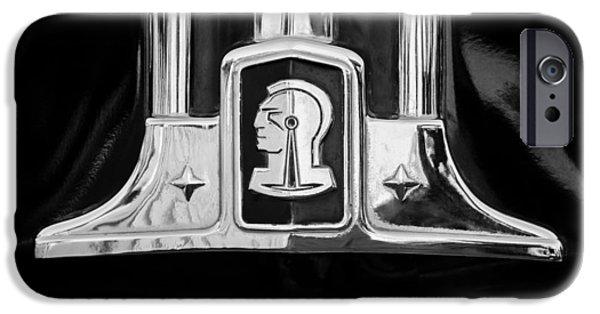 Station Wagon iPhone Cases - 1948 Pontiac Streamliner Woodie Station Wagon Emblem iPhone Case by Jill Reger