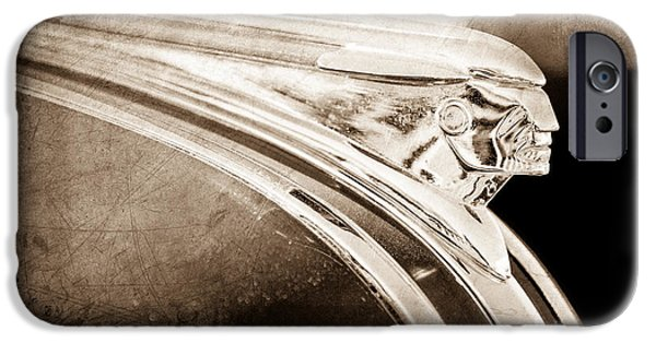 Station Wagon iPhone Cases - 1948 Pontiac Streamliner Woodie Station Wagon Hood Ornament iPhone Case by Jill Reger