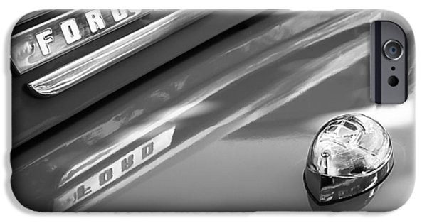 F 1 iPhone Cases - 1949 Ford F-1 Pickup Truck Emblem -0027BW iPhone Case by Jill Reger