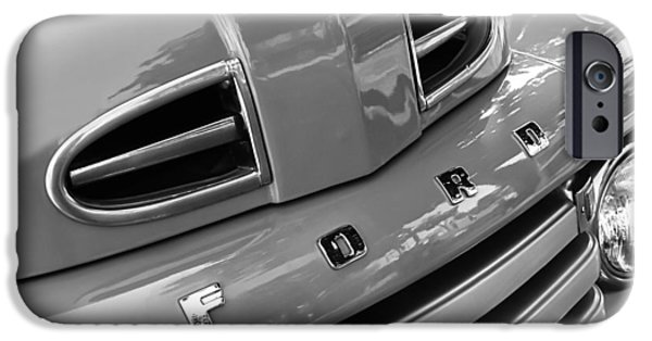F 1 iPhone Cases - 1949 Ford F-1 Pickup Truck Grille Emblem -0009BW iPhone Case by Jill Reger