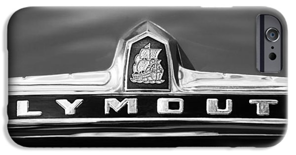 1949 Plymouth iPhone Cases - 1949 Plymouth P-18 Special Deluxe Convertible Emblem iPhone Case by Jill Reger