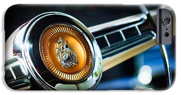 1949 Plymouth iPhone Cases - 1949 Plymouth P-18 Special Deluxe Convertible Steering Wheel Emblem iPhone Case by Jill Reger