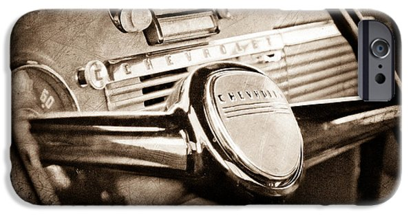 1950 iPhone Cases - 1950 Chevrolet 3100 Pickup Truck Steering Wheel iPhone Case by Jill Reger