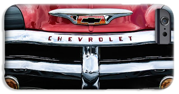 Antique Cars iPhone Cases - 1955 Chevrolet 3100 Pickup Truck Grille Emblem iPhone Case by Jill Reger