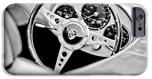 Replica iPhone Cases - 1955 Porsche Spyder Replica Steering Wheel Emblem iPhone Case by Jill Reger