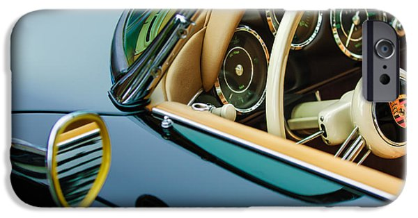 1956 iPhone Cases - 1956 Porsche 356 A Speedster Steering Wheel Emblem iPhone Case by Jill Reger