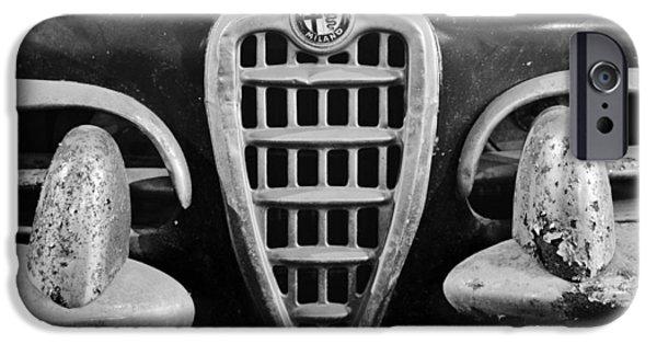 Black Spider iPhone Cases - 1957 Alfa Romeo Giulietta Spider Grille Emblem iPhone Case by Jill Reger