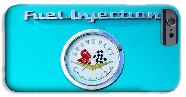 Injections iPhone Cases - 1957 Chevrolet Corvette Emblem iPhone Case by Jill Reger