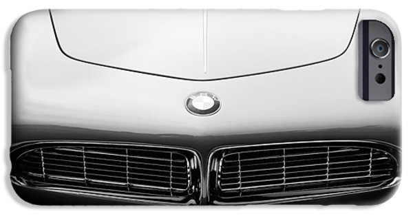 D.w iPhone Cases - 1958 BMW 507 Series II Roadster Hood Emblem iPhone Case by Jill Reger