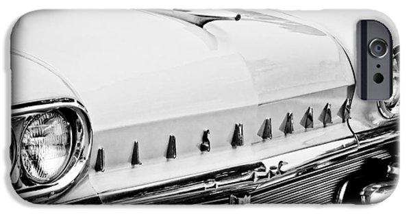 Automotive iPhone Cases - 1958 Oldsmobile Super 88 Grille Emblems - Hood Orament iPhone Case by Jill Reger