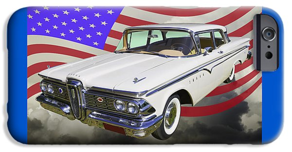 Red White And Blue iPhone Cases - 1959 Edsel Ford Ranger iPhone Case by Keith Webber Jr