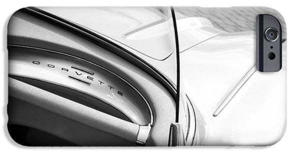 1960 iPhone Cases - 1960 Chevrolet Corvette Dashboard Emblem iPhone Case by Jill Reger