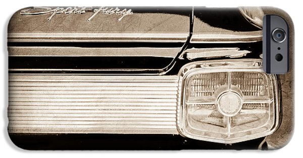 Fury iPhone Cases - 1963 Plymouth Sport Fury Taillight Emblem iPhone Case by Jill Reger