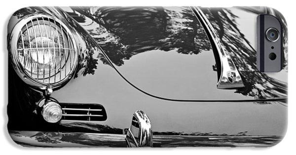 Vintage Car iPhone Cases - 1963 Porsche 356 B Cabriolet Hood Emblem iPhone Case by Jill Reger