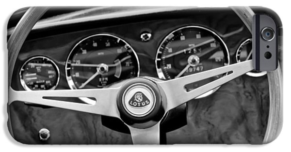 Steering iPhone Cases - 1965 Lotus Elan S2 Steering Wheel Emblem iPhone Case by Jill Reger
