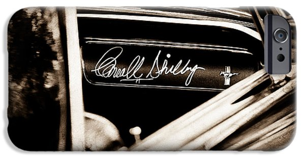 Carroll iPhone Cases - 1965 Shelby Prototype Ford Mustang Carroll Shelby Signature iPhone Case by Jill Reger