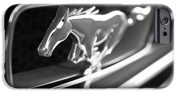 Sports Cars Images iPhone Cases - 1965 Shelby Prototype Ford Mustang Grille Emblem iPhone Case by Jill Reger