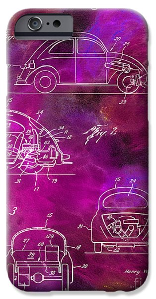 Psychedelic Photographs iPhone Cases - 1968 VW Patent Drawing iPhone Case by Jon Neidert