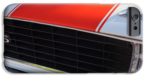 Indy Car iPhone Cases - 96 Inch Panoramic -1969 Chevrolet Camaro RS-SS Indy Pace Car Replica Grille - Hood Emblems iPhone Case by Jill Reger