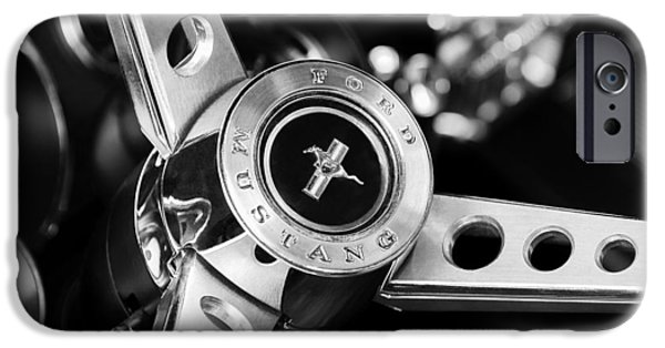 Vintage Car iPhone Cases - 1969 Ford Mustang Mach 1 Steering Wheel iPhone Case by Jill Reger