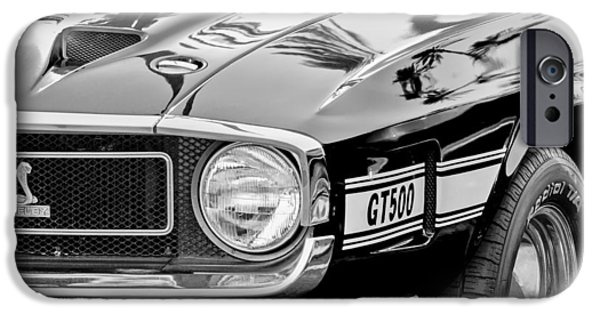 500 iPhone Cases - 1969 Shelby Cobra GT500 Front End - Grille Emblem iPhone Case by Jill Reger