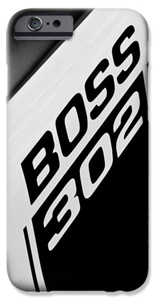 1970 iPhone Cases - 1970 Ford Mustang Boss 302 Emblem iPhone Case by Jill Reger