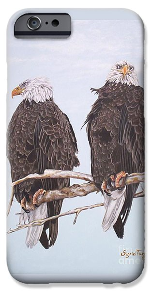 American Eagle Paintings iPhone Cases - 387 Two Perched Eagles iPhone Case by Sigrid Tune