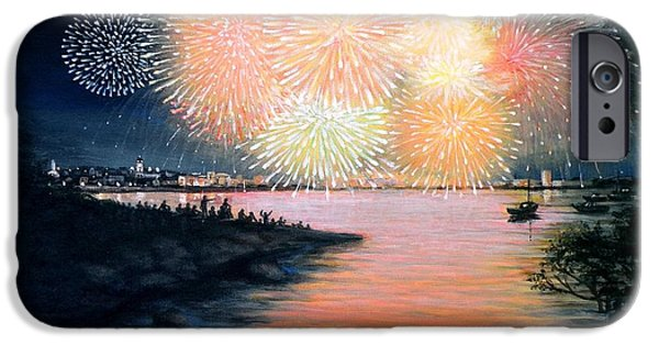 4th July Paintings iPhone Cases - 4th of July Gloucester Harbor iPhone Case by Eileen Patten Oliver