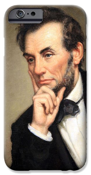Cora Wandel iPhone Cases - A Contemplative Abraham Lincoln iPhone Case by Cora Wandel