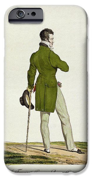 Person Drawings iPhone Cases - A Dandy  iPhone Case by Antoine Charles Horace Vernet