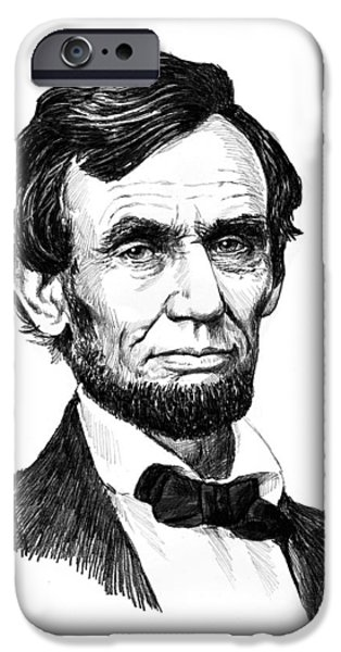 Pencil Portrait Drawings iPhone Cases - A. Lincoln iPhone Case by Harry West