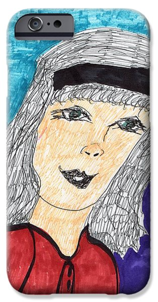 Gray Hair Mixed Media iPhone Cases - A Pretty Lady iPhone Case by Elinor Rakowski