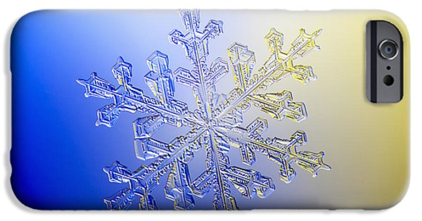 States iPhone Cases - A Real Snowflake Showing The Classic iPhone Case by Marion Owen