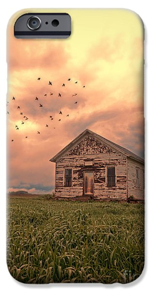 Haunted Schools iPhone Cases - Abandoned Building in a Storm iPhone Case by Jill Battaglia
