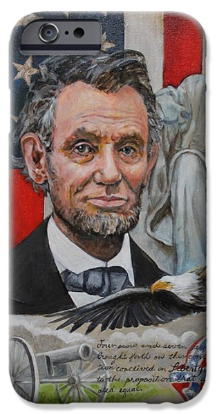 Statue Portrait Paintings iPhone Cases - Abe Lincoln  iPhone Case by Jan Mecklenburg