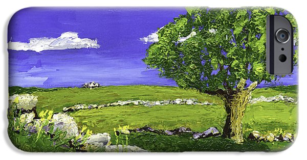 Maine Landscapes Paintings iPhone Cases - Tree In Maine Blueberry Field iPhone Case by Keith Webber Jr
