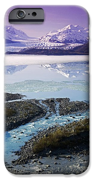 Matanuska iPhone Cases - Aerial Of Knik & Colony Glacier iPhone Case by Jeff Schultz