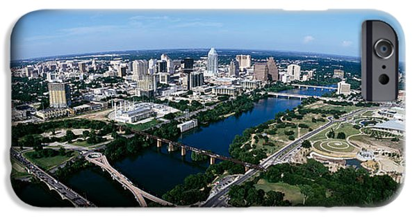 Built Structure iPhone Cases - Aerial View Of A City, Austin, Travis iPhone Case by Panoramic Images