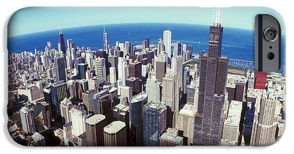 Sears Tower iPhone Cases - Aerial View Of A Cityscape With Lake iPhone Case by Panoramic Images