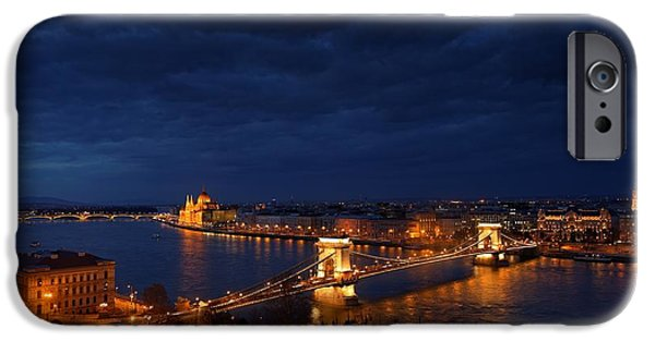 River View Pyrography iPhone Cases - Aerial view of Budapest with Danube iPhone Case by Oliver Sved