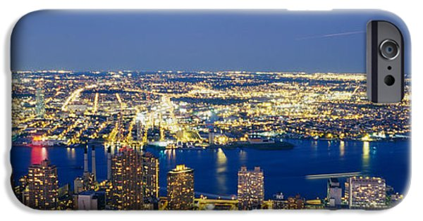 Hudson River iPhone Cases - Aerial View Of Buildings Lit Up At iPhone Case by Panoramic Images
