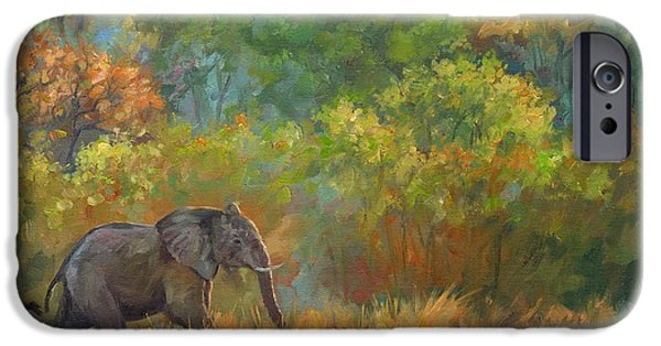 Recently Sold -  - Tree Art Print iPhone Cases - African Elephant iPhone Case by David Stribbling